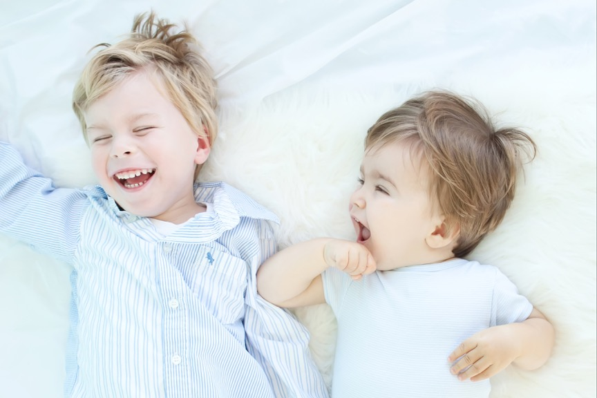 Brothers sharing a good laugh.